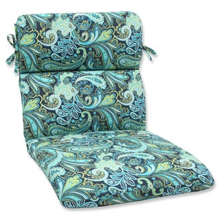 Pillow Perfect Pretty Paisley Navy Rounded Corners Chair Outdoor Cushion