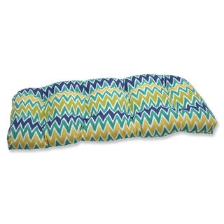 Pillow Perfect Zulu Blue/ Green Wicker Loveseat Outdoor Cushion