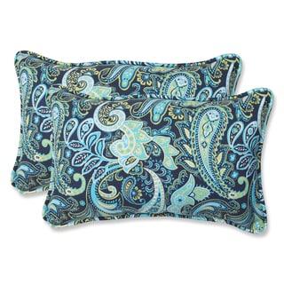 Pillow Perfect Pretty Paisley Navy Rectangular Outdoor Throw Pillows (Set of 2)