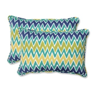 Pillow Perfect 'Zulu' Blue/ green Outdoor Rectangular Throw Pillows (Set of 2)