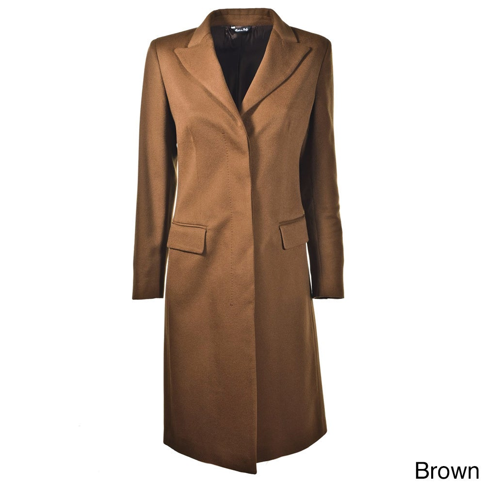 Hathaway Women's Italian-made Cashmere Coat (Brown - 38)