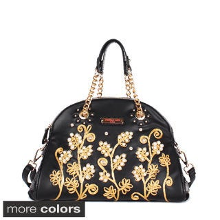 Nicole Lee 'Tilly' Beaded Flowers Satchel Bag