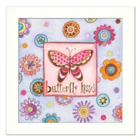 """""""Butterfly Kisses"""" By Bernadette Deming, Printed Wall Art, Ready To Hang Framed Poster, White Frame"""