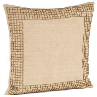 Beaded Design Burlap Down Filled Throw Pillow