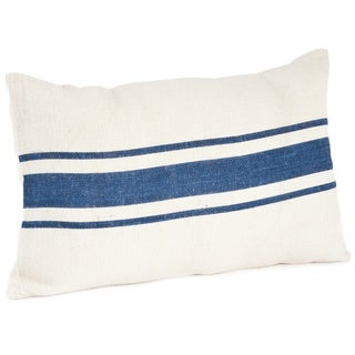 Striped Design Jute Down Filled Throw Pillow