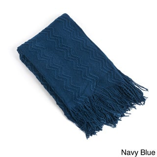 Knitted Zigzag Design Throw Blanket