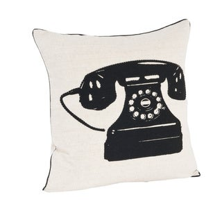 Telephone Design Feather Filled Throw Pillow