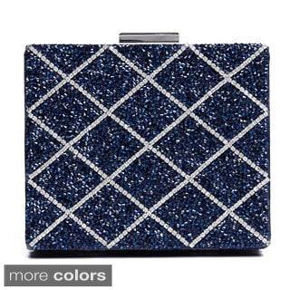 J. Furmani Glitter Beaded Square Hardcase Clutch