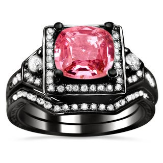 Noori 14k Black Gold 1/2ct TDW Pink Sapphire and Diamond Cushion-cut Bridal Set