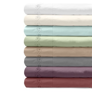Grand Luxe Egyptian Cotton Sateen 500 Thread Count Deep Pocket Sheet Set with Chenille Embroidered S