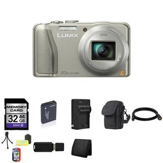 Panasonic Lumix DMC-ZS25 16.1MP Silver Digital Camera 32GB Bundle