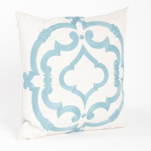 Embroidered Motif Down Filled Throw Pillow