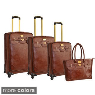 Adrienne Vittadini 4-piece Fashion Spinner Luggage Set - Free ...