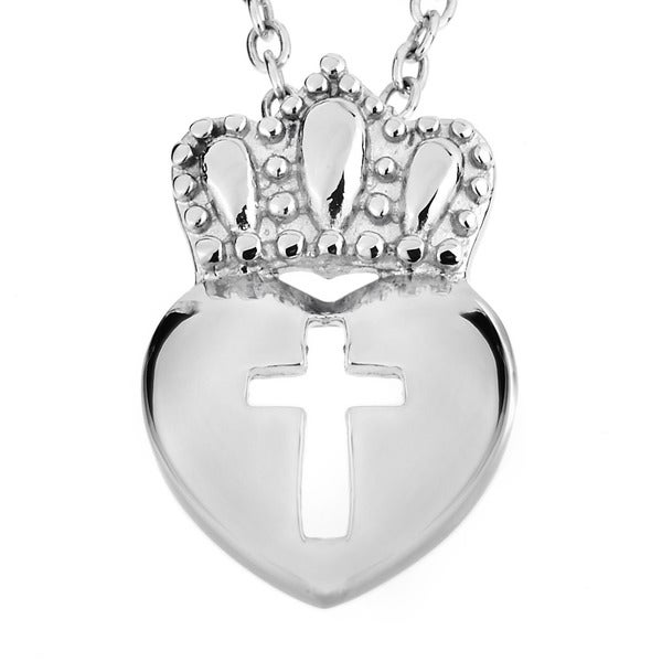 ELYA Stainless Steel Claddagh Cut-out Cross Necklace