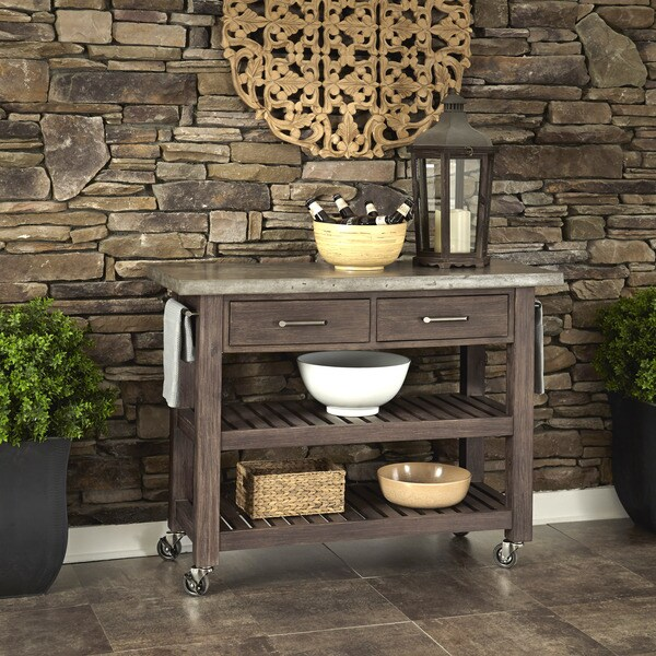 Concrete Chic Weathered Brown Kitchen Cart by Home Styles