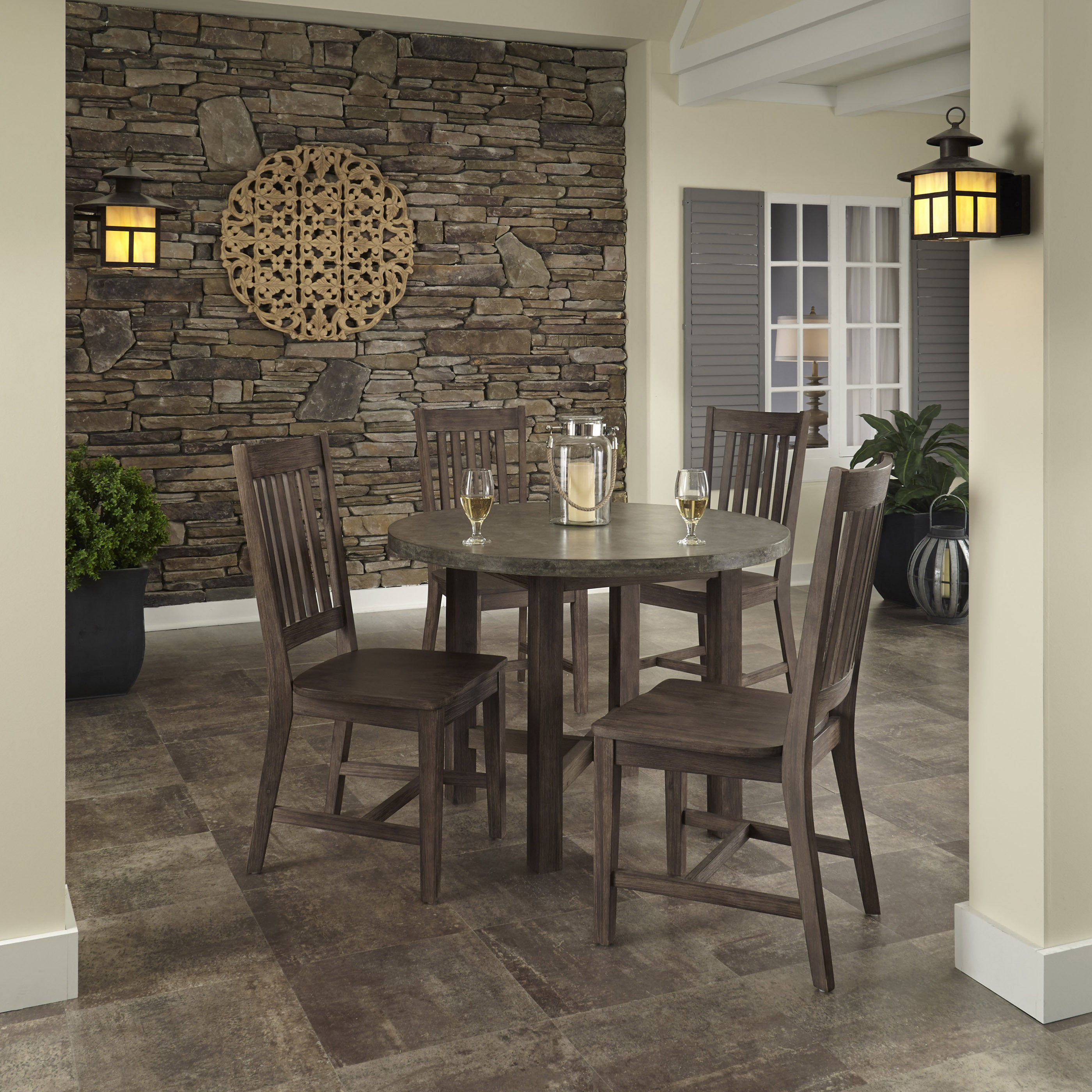 Saddle Brown Round Table And 4 Kitchen Chairs 5 Piece: Shop Concrete Chic 5-piece Dining Set By Home Styles