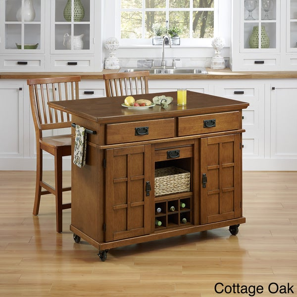 Arts and Crafts Kitchen Cart with Two Stools by Home Styles