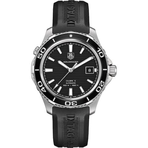 Tag Heuer Men's 'Aquaracer500' Black Dial Black Rubber Strap Watch