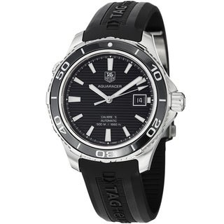Tag Heuer Men's WAK2110.FT6027 'Aquaracer500' Black Dial Black Rubber Strap Watch