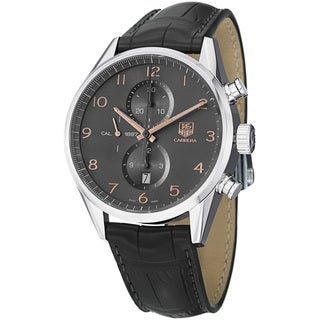Tag Heuer Men's CAR2013.FC6313 'Carrera' Grey Dial Grey Leather Strap Automatic Watch