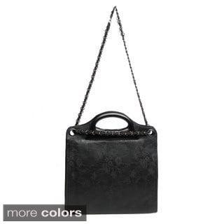 J. Furmani Elegant Patterned Faux Leather Handbag