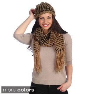 J. Furmani Women's Fringe Scarf and Hat Set