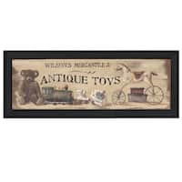 """Antique Toys"" By Pam Britton, Printed Wall Art, Ready To Hang Framed Poster, Black Frame"