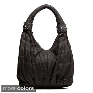 J. Furmani Pleated Rhinestone Cuffed Shoulder Bag