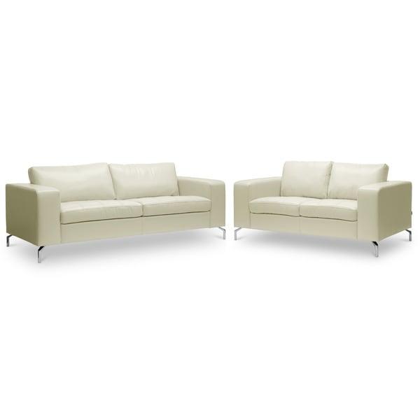 Baxton Studio 'Lazenby' Cream Leather Modern Sofa Set
