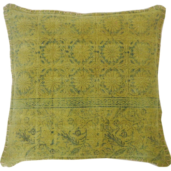 Handmade Art Green Decorative Accent Pillow