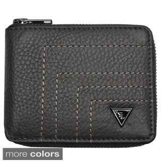 YL Fashion Men's Leather Bi-fold Zip Around Wallet