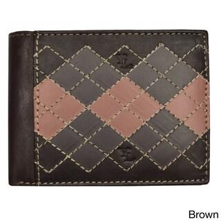 YL Fashion Men's Argyle Leather Bi-fold Passcase Wallet