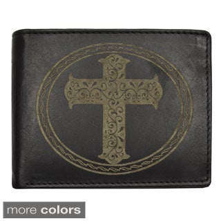 YL Fashion Men's Cross-embossed Leather Wallet Bi-fold Wallet