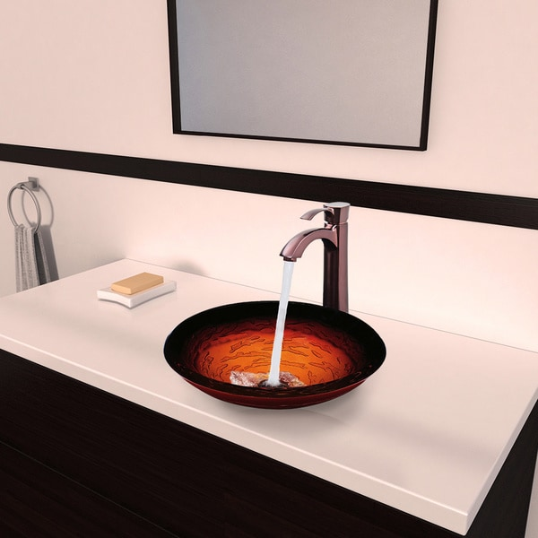 Vigo Magma Glass Vessel Sink and Otis Oil Rubbed Bronze Faucet Set