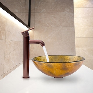 VIGO Copper Shapes Glass Vessel Sink and Seville Faucet Set in Oil Rubbed Bronze