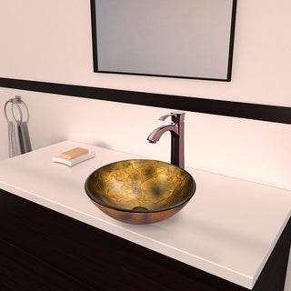 VIGO Copper Shapes Glass Vessel Sink and Otis Faucet Set in Oil Rubbed Bronze