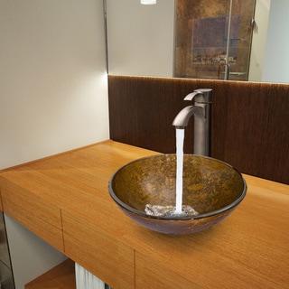 VIGO Textured Copper Glass Vessel Sink and Otis Brushed Nickel Faucet Set
