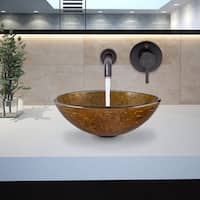 VIGO Textured Copper Glass Vessel Sink and Olus Wall Mount Faucet Set in Antique Rubbed Bronze
