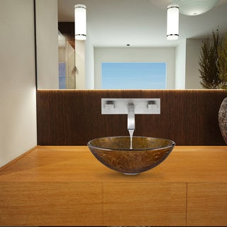 VIGO Textured Copper Glass Vessel Sink and Titus Wall Mount Faucet Set in Brushed Nickel