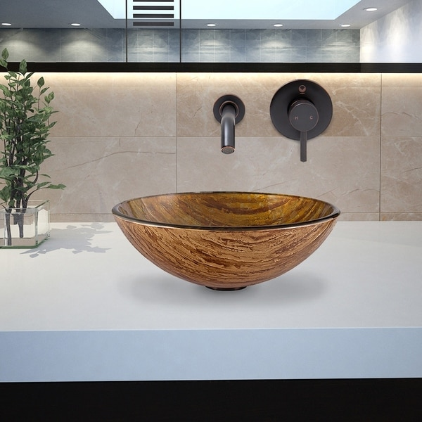 VIGO Amber Sunset Glass Bathroom Sink and Olus Wall Mount Faucet Set