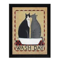 """Wash Day"" By Dotty Chase, Printed Wall Art, Ready To Hang Framed Poster, Black Frame"