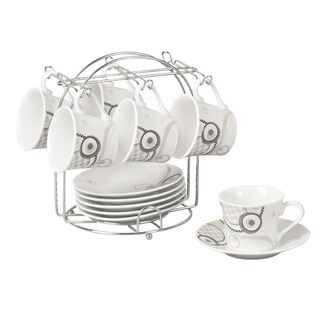 Grey Espresso Set on Stand (Service for 6)