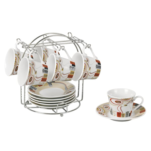 Espresso Set on Stand Coffee Bean Design (Service for 6)