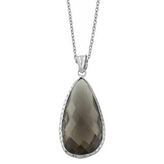 Fremada Sterling Silver Pear-shaped Smokey Quartz Necklace (18 inch)