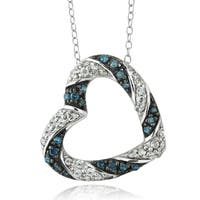 DB Designs Sterling Silver 1/2ct TDW Blue and White Diamond Heart Necklace