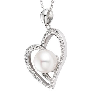 Pearlyta Sterling Silver Freshwater Pearl and Cubic Zirconia Heart Necklace (8 - 8.5mm) - White