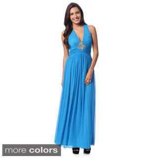 Decode 1.8 Women's V-neck Mesh Overlay Gown