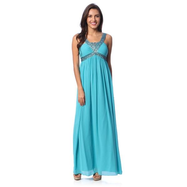 Decode 1.8 Women's Seafoam Beaded Neck Empire Waist Gown