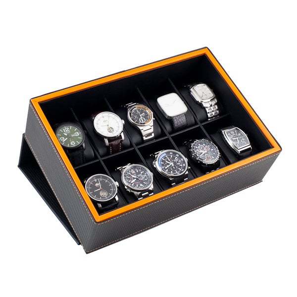 Shop caddy bay collection carbon fiber pattern flip top display storage 10 watch box with orange for Watches box