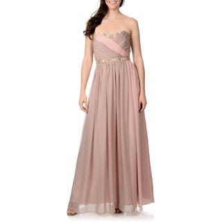 Decode 1.8 Women's Nude and Pink Colorblocked Gown